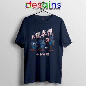 Captain America Shoryuken Navy T Shirt Street Fighter
