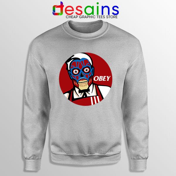 Funny Obey KFC Skull Sport Grey Sweatshirt Face Bones Logo