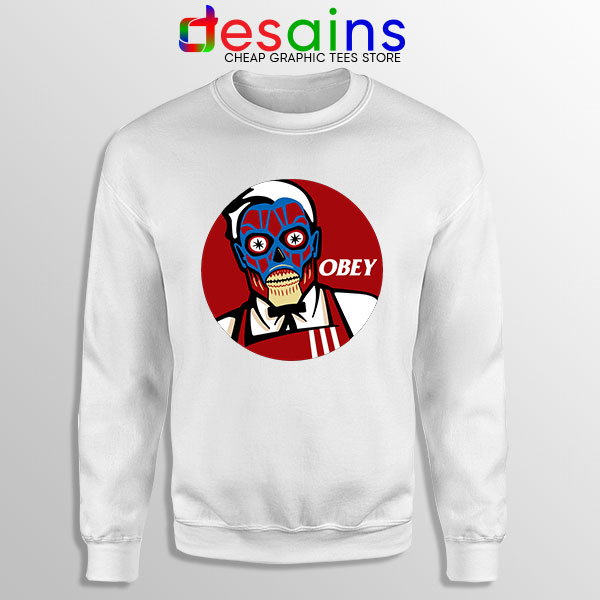Funny Obey KFC Skull White Sweatshirt Face Bones Logo