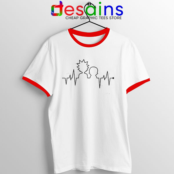 Funny Heartbeat Rick and Morty Red Ringer Tee Adult Swim