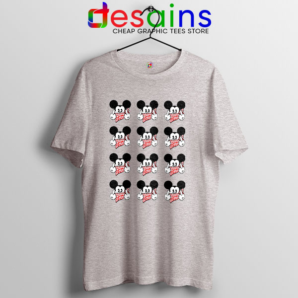 Mickey Mouse Flipping You Off Sport Grey T Shirt Disney Funny