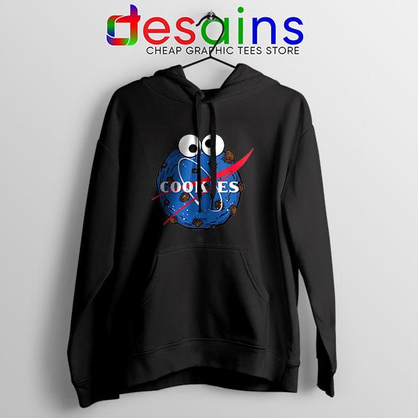 NASA Space Cookies Black Hoodie Funny Old Logo