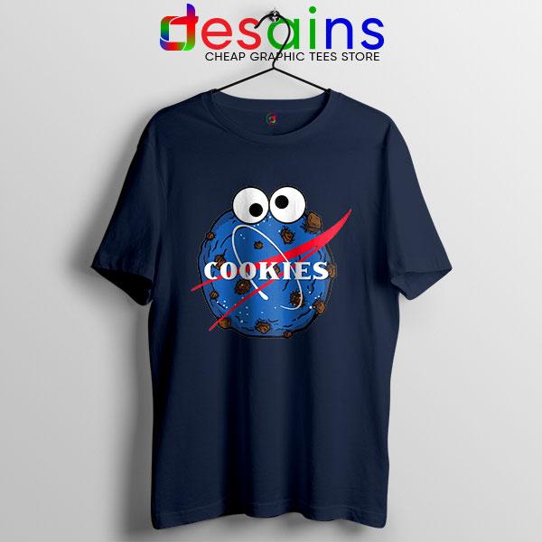 NASA Space Cookies Navy T Shirt Funny Old Logo