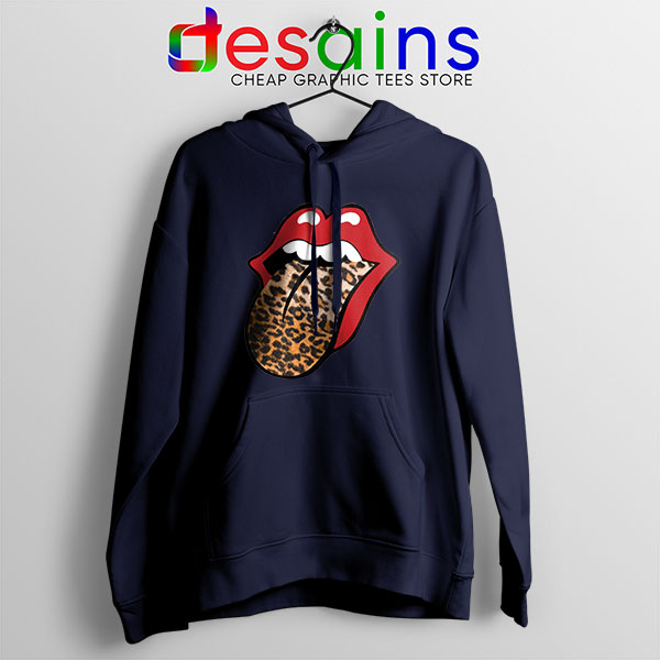 Rolling Stones Tongue Leopard Navy Hoodie Band Logo