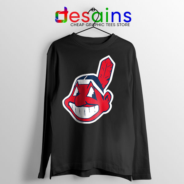 Best Chief Wahoo Logo Black Long Sleeve Tee Cleveland Indians