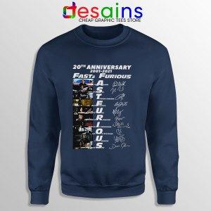 Fast Furious 20th Anniversary Navy Sweatshirt Fast Saga