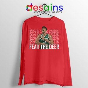 Fear The Deer Giannis Red Long Sleeve Tee Bucks Final