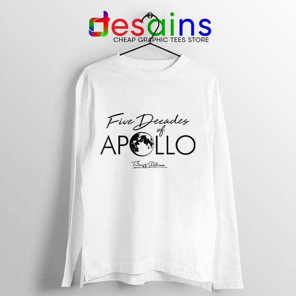 Five Decades of Apollo White Long Sleeve Tee Elon Musk