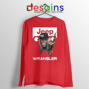 Jeep Maiden Skull Red Long Sleeve Tee Wrangler Heavy Metal