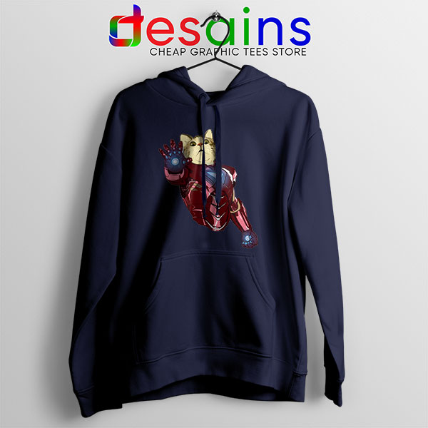 Meow Iron Man Avengers Navy Hoodie Funny Cats