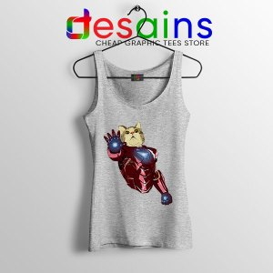 Meow Iron Man Avengers Sport Grey Tank Top Funny Cats