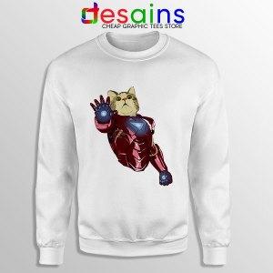 Meow Iron Man Avengers White Sweatshirt Funny Cats