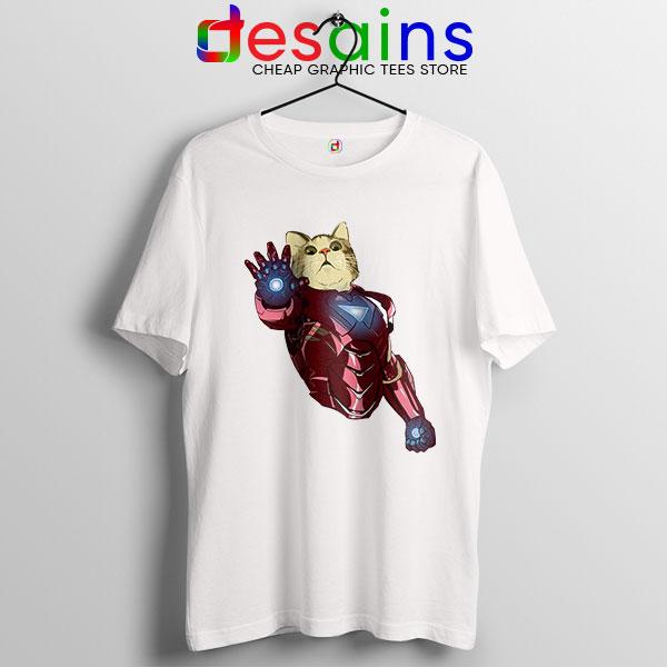 Meow Iron Man Avengers White T Shirt Funny Cats