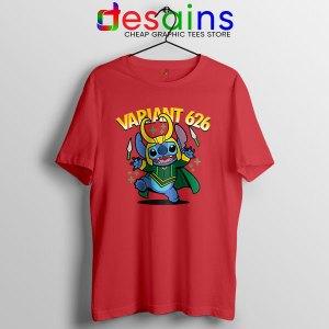 Variant Loki Funny Stitch Red T Shirt Marvel Comics TVA