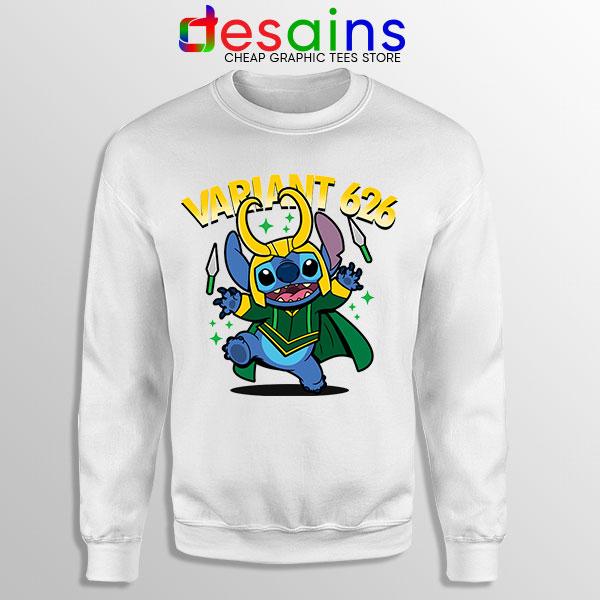 Variant Loki Funny Stitch White Sweatshirt Marvel Comics TVA