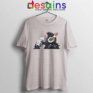 Best Banksy DJ Monkey Sport Grey T Shirt Street Artist