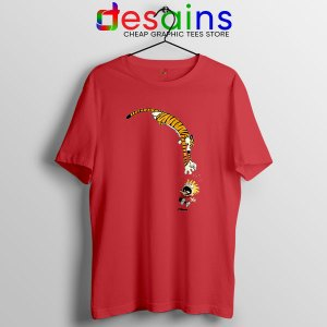 Calvin and Hobbes Jump Red T Shirt Funny Strip
