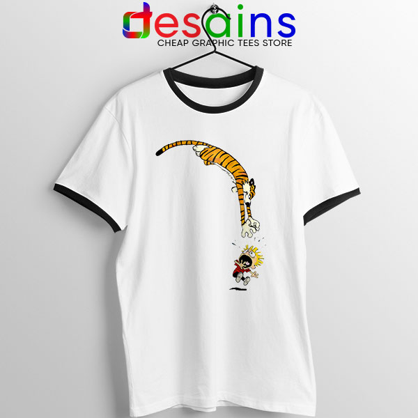 Calvin and Hobbes Jump Ringer Tee Funny Strip