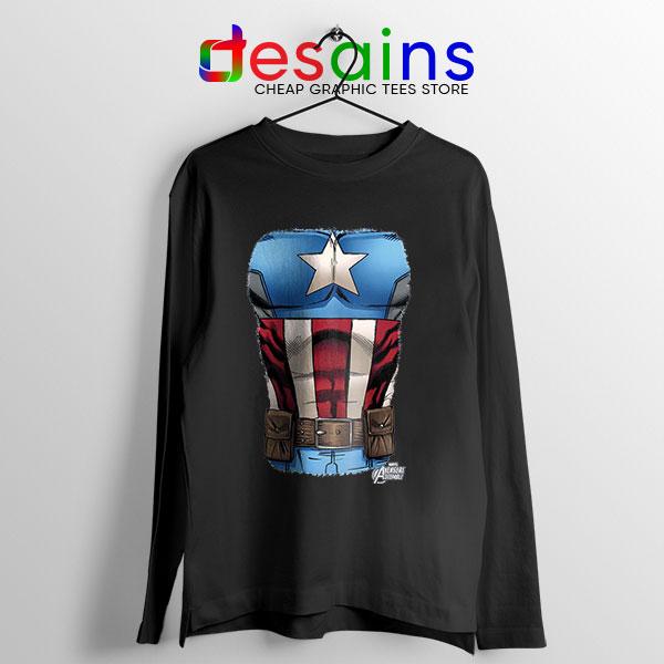 Captain America Chest Flag Black Long Sleeve Tee Avengers