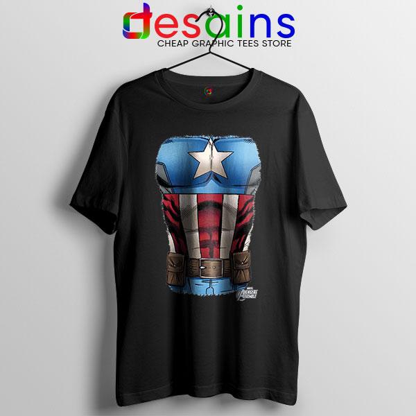 Captain America Chest Flag Black T Shirt Avengers Endgame