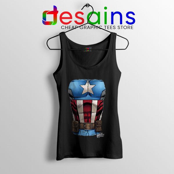 Captain America Chest Flag Black Tank Top Avengers Endgame