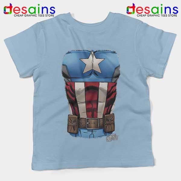 Captain America Chest Flag Light Blue Kids Tee Avengers