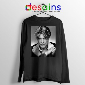 David Bowie Eyes Color Black Long Sleeve Tee Album Cover