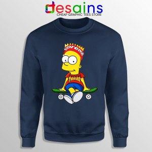 Funny Bart Simpson Navy Skateboard Sweatshirt Skate Pro