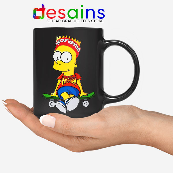 Funny Bart Simpson Skateboard Black Mug Skate Pro