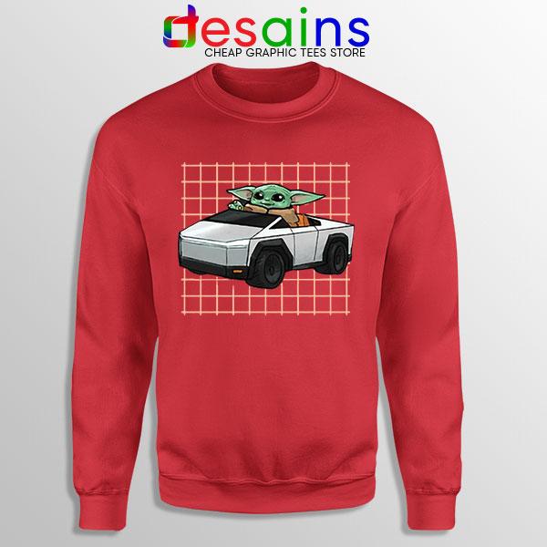 Funny Cybertruck Baby Yoda Red Sweatshirt Tesla