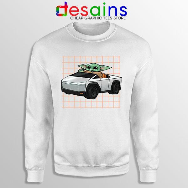 Funny Cybertruck Baby Yoda White Sweatshirt Tesla