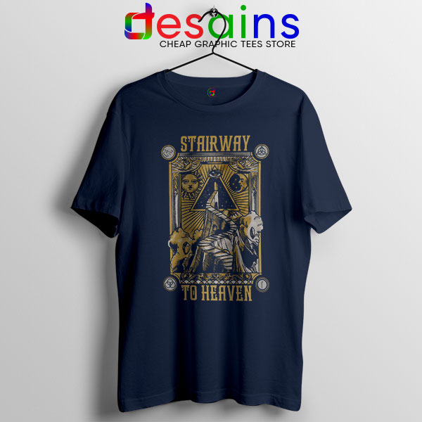 Led Zeppelin Stairway to Heaven Navy T Shirt Rock Band