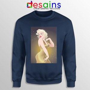 Marilyn Monroe Gold Smile Navy Sweatshirt Sexy Actress