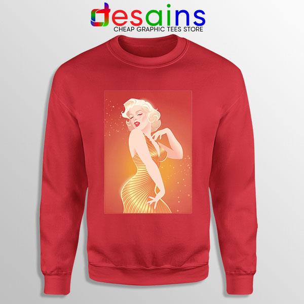Marilyn Monroe Gold Smile Red Sweatshirt Sexy Actress