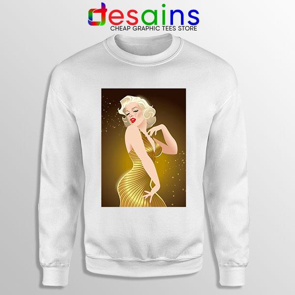 Marilyn Monroe Gold Smile White Sweatshirt Sexy Actress