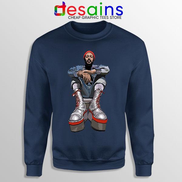 Marvin Gaye Music Boots Navy Sweatshirt Back In 73