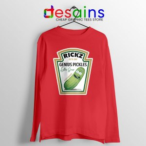 Pickle Rick Heinz logo Red Long Sleeve Tee Rick and Morty