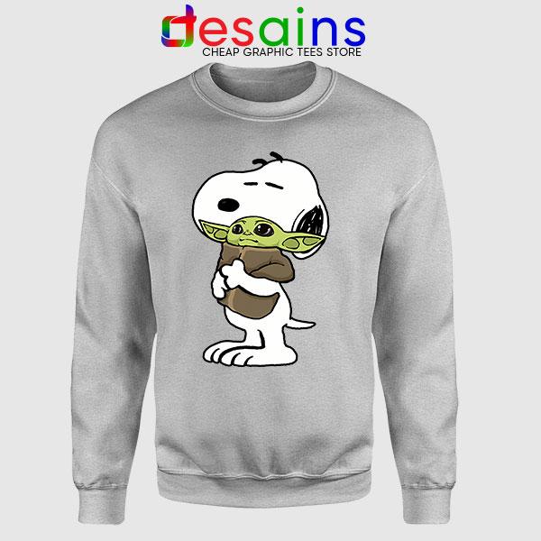 Snoopy Baby Yoda Friends SPort Grey Sweatshirt Mandalorian