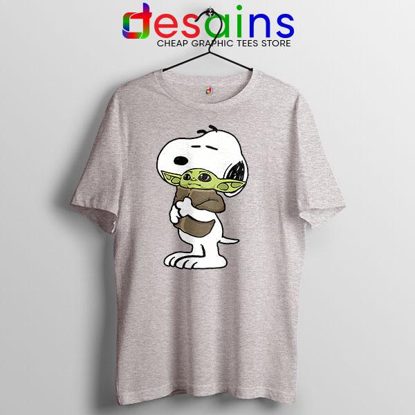 Snoopy Baby Yoda Friends Sport Grey T Shirt Mandalorian