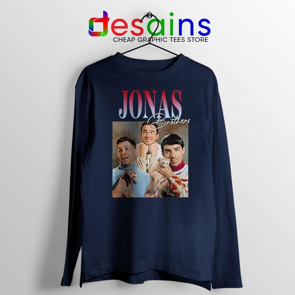 Buy Jonas Brothers Merch Retro Navy Long Sleeve Tee Band