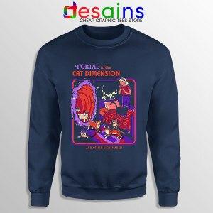 Cat Dimension Retro Navy Sweatshirt Funny Meow