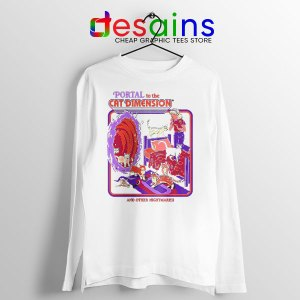 Cat Dimension Retro White Long Sleeve Tee Funny Meow