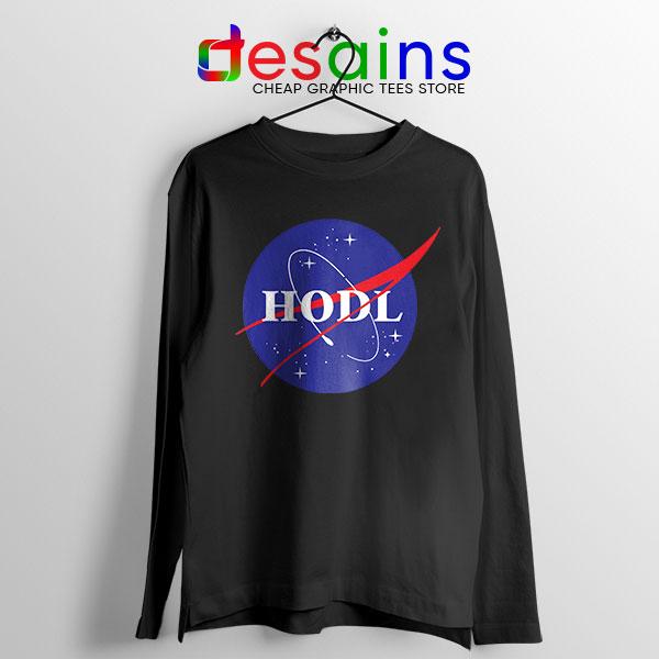 Crypto HODL NASA logo Black Long Sleeve Tee Meme