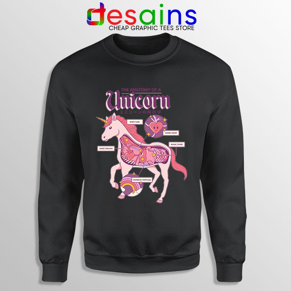 Cute Unicorn Anatomy Black Sweatshirt