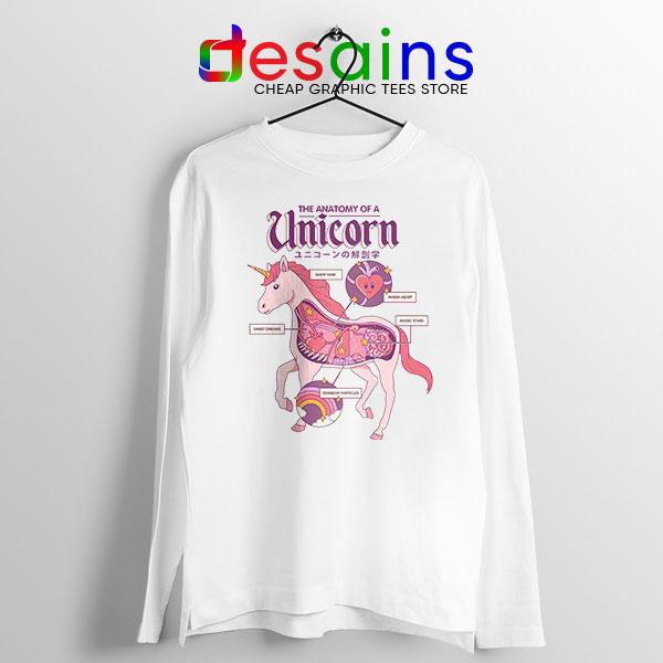 Cute Unicorn Anatomy Long Sleeve Tee Funny