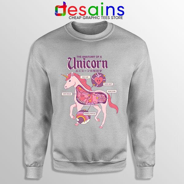 Cute Unicorn Anatomy Sport Grey Sweatshirt