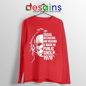 Funny Michael Myers Covid Red Long Sleeve Tee Real Face