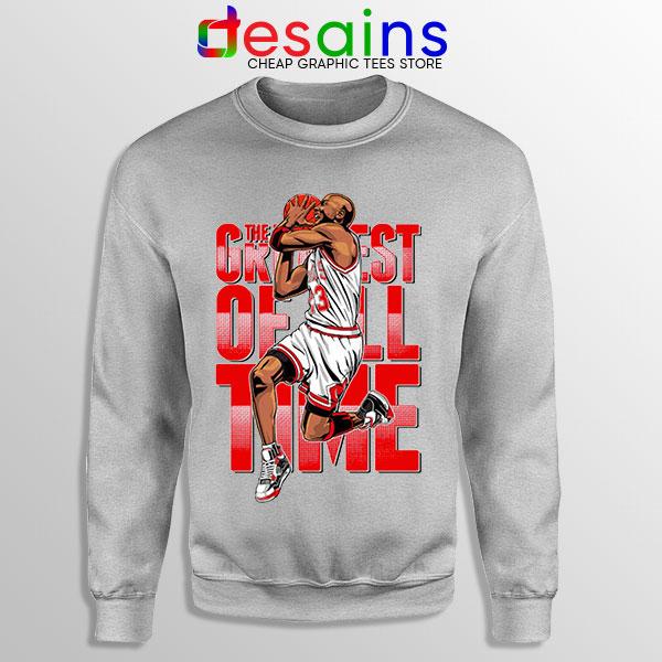 GOAT Michael Jordan Fire Red Sport Grey Sweatshirt Retro NBA