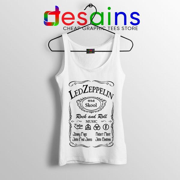 Led Zepelin Whiskey White Tank Top Old School Daniels