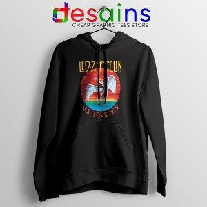 North American Tour 1975 Merch Black Hoodie Led Zeppelin